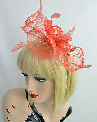 Spring Race Melbourne Cup Feather Fascinator Headband Hat Hatinator Red Salmon