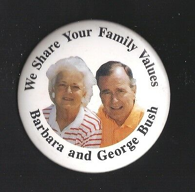 """1980s George & Barbara Bush We Share Family Values pin back button 2 1/2"""""""