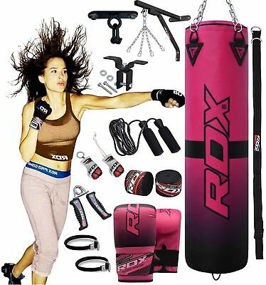 RDX Ladies 17 Piece Leather Filled Punch Bag Set Women Pink Gloves Bracket Chain