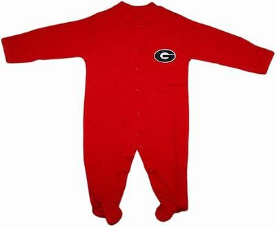 New UGA Georgia Bulldogs Long Sleeve Footed Romper w/ Snaps Infant Baby Newborn
