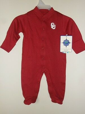 OU Oklahoma Sooners Long Sleeve Footed Romper w/ Snaps Newborn Baby Romper New