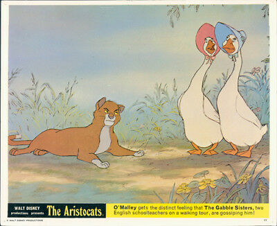 The Aristocats Original Walt Disney Lobby Card O'malley Cat Gabble Sisters Rare