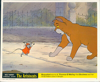 The Aristocats Original Walt Disney Lobby Card Animation Roquefort O'malley Rare