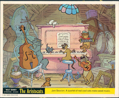 The Aristocats Original Walt Disney Lobby Card Animation Jam Session Cool Cats