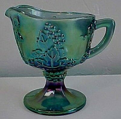 Harvest Grape Blue Iridescent CARNIVAL Glass Creamer