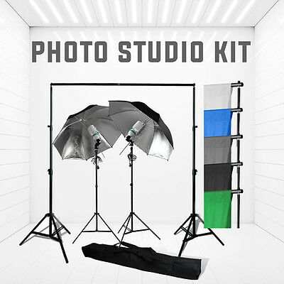 2 x 120W Black/Silver Umbrella Lighting Kit + 3x6m Backdrop + Background Stand