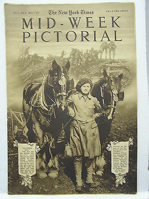 May 3,1917 NY TIMES Mid-Week Pictorial Magazine-War Council/British Airplane/WW1