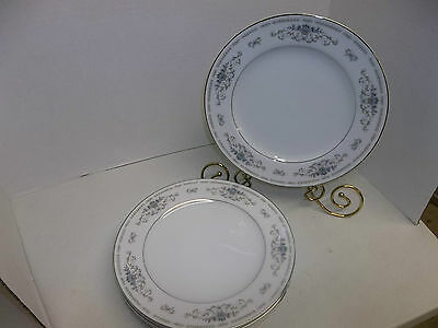 JAPAN FINE PORCELAIN CHINA BY WADE DIANE BLUE FLOWERS SET OF 4 DINNER PLATES 10""