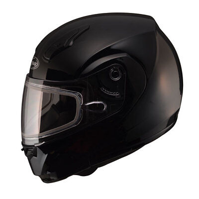 New Large Black Snowmobile Helmet Modular Snow Electric Double Shield Md04 Gmax