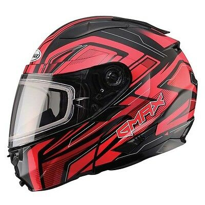Red Helmet Modular Vortex Snow Full Snowmobile Inner Flip Lens Led Gmax Gm64