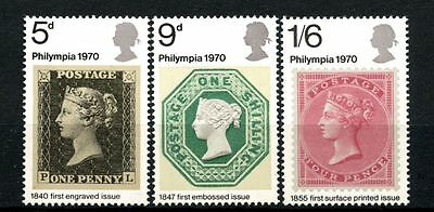 GB 1970 SG#835-7 Philympia Stamp Exhibition MNH Set #A26337