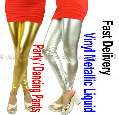Footless 80s 70s Disco Stage STRETCH Pants Tights Vinyl Wet Liquid Metallic