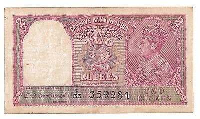 1943 India 2 Rupee TWO RED Banknote of King George VI GB UK Great Britain  P 17