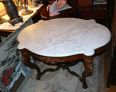 Antique Victorian Carved Walnut Large Marble-Top Hallway Center Table Flowers