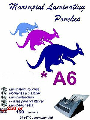 A6 laminating pouches 150 or 250 micron Marsupial suitable for most  laminators