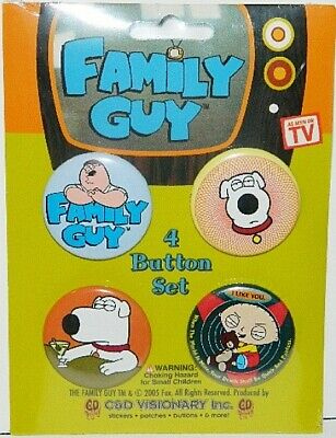 The Family Guy Brian, Stewie and Peter Carded Button Set of 4, NEW SEALED