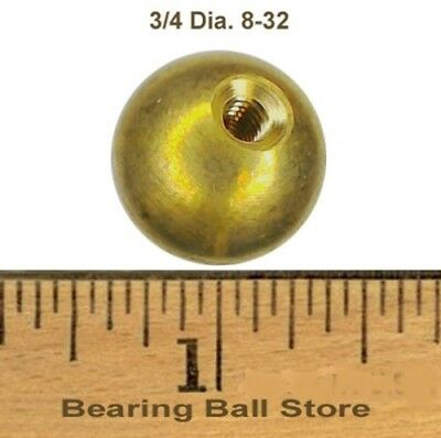 "Three 3/4"" threaded 8-32 brass balls drilled tapped"