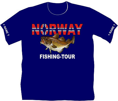 Angler T-Shirt Norway Fishing Anglershirt Urlaub Norwegen Dorschfang Angeln 117