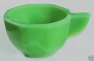 Green  Octagonal Akro Agate Child Toy Cup Closed Handle