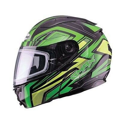 New Green Helmet Modular Vortex Snow Full Snowmobile Inner Flip Lens Gmax Gm64