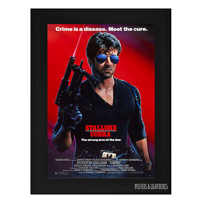 COBRA SYLVESTER STALLONE Framed Film Movie Poster A4 Black Frame