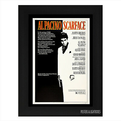 SCARFACE AL PACINO Ref 01 Framed Film Movie Poster A4 Black Frame