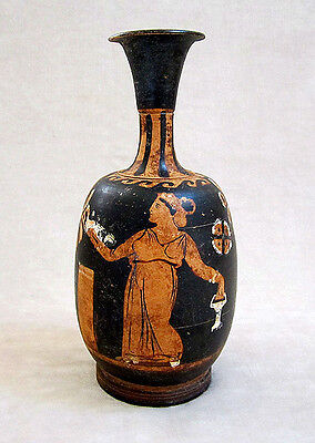 Magnificent ANCIENT APULIAN RED-FIGURED SQUAT LEKYTHOS, circa 350 B.C.