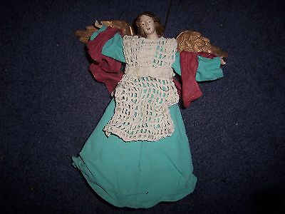 Vintage Golden Winged Christ Tree Topper Angel With Crochet & Material Clothing