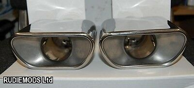 Porsche Carerra Boxster Style Twin Stainless Steel Exhaust Trims 1 PAIR