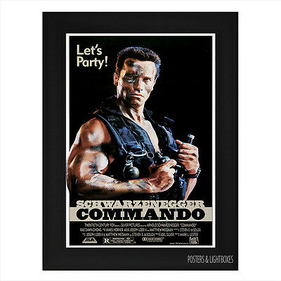 COMMANDO ARNOLD SCHWARZENEGGER Framed Film Movie Poster A4 Black Frame