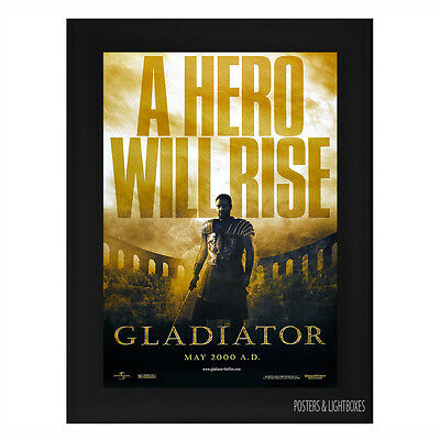 GLADIATOR RUSSELL CROWE Framed Film Movie Poster A4 Black Frame