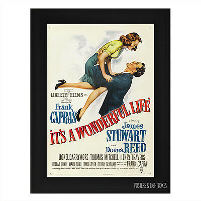 ITS A WONDERFUL LIFE Framed Film Movie Poster A4 Black Frame