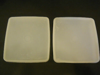 #B 2 Vintage Tupperware Square-A-Way Sandwich Keeper Containers sheer white# 670