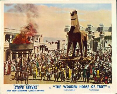 The Wooden Horse Of Troy Trojan Original Lobby Card Steve Reeves Epic