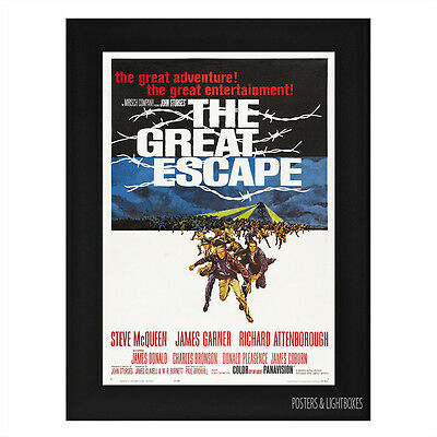 THE GREAT ESCAPE Framed Film Movie Poster A4 Black Frame