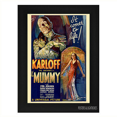 THE MUMMY BORIS KARLOFF Framed Film Movie Poster A4 Black Frame