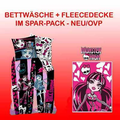 Monster High Bettwäsche 135/200 + Fleecedecke Beauty Pink - Bundle Neu/ovp Decke