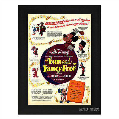 DISNEYS FUN AND FANCY FREE CLASSIC Framed Film Movie Poster A4 Black Frame