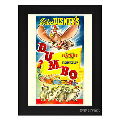DISNEYS DUMBO CLASSIC Framed Film Movie Poster A4 Black Frame