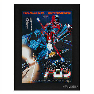 TRON ORIGINAL JAPANESE Framed Film Movie Poster A4 Black Frame