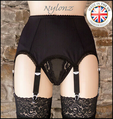 6 Strap Luxury Suspender Belt Black (Garter Belt) NYLONZ