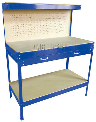 Blue Steel Garage Toolbox Workbench Storage Pegboard Shelf Workshop Station New