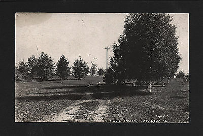 Roland Iowa IA c1908 RPPC Old City Park and Dirt Road Across Park, Birch Trees