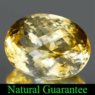 If ~ 27.83 Ct ~ Yellow Citrine ~ Checkerboard Cut Oval ~ Natural Gemstone