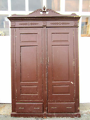 ~ Antique Carved Closet Front Butlers Pantry Linen Cabinet Face Salvage ~