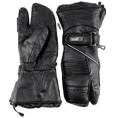 Snowmobile Gloves LEATHER Adult Ski Winter 3 FINGER Black Mittens/Glove Snow