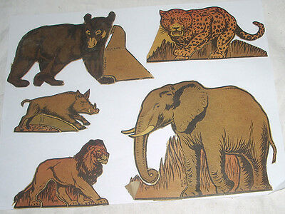 Vintage Post Toasties Cereal Cutouts Wild Animals Lot of 5