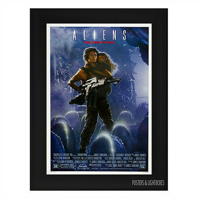 ALIENS (Alien 2) Ref 01 Framed Film Movie Poster A4 Black Frame