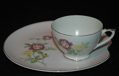 Lefton Fine China Snack Plate & Cup Set Red & Yellow Roses Ne2108