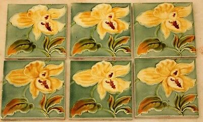 GLORIOUS FLORAL SET OF 6 ANTIQUE MAJOLICA LILY TILES